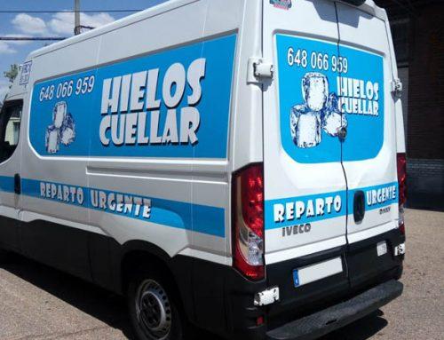 Rotulación de furgón para reparto urgente de hielo